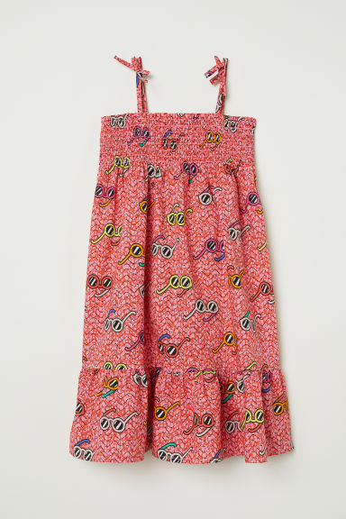 Cotton dress with smocking - Pink/Sunglasses - Kids | H&M