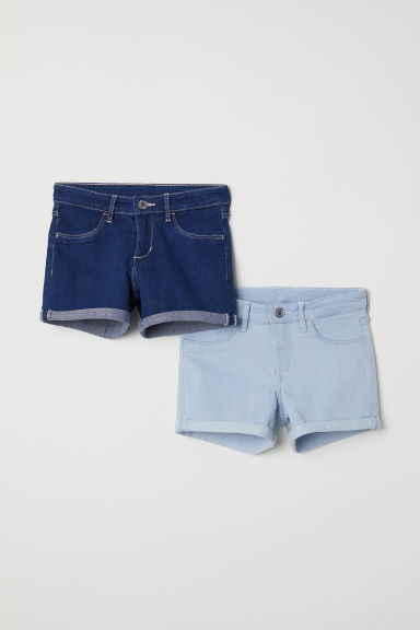 2-pack denim shorts - Dark denim blue - Kids | H&M
