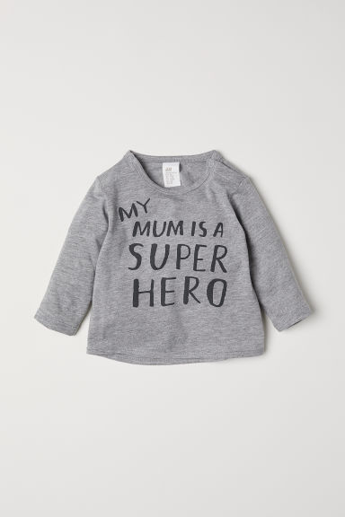 Text-print top - Grey marl/Super hero - Kids | H&M CN