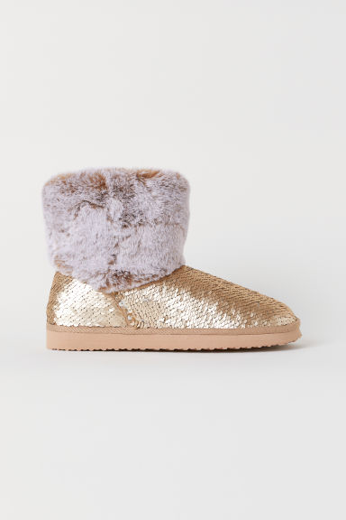 Sequin-embroidered boots - Gold-coloured - Kids | H&M