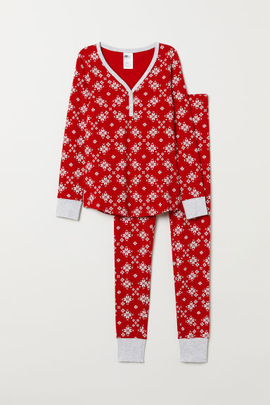 Pyjama top and leggings - Red/Patterned - Ladies | H&M
