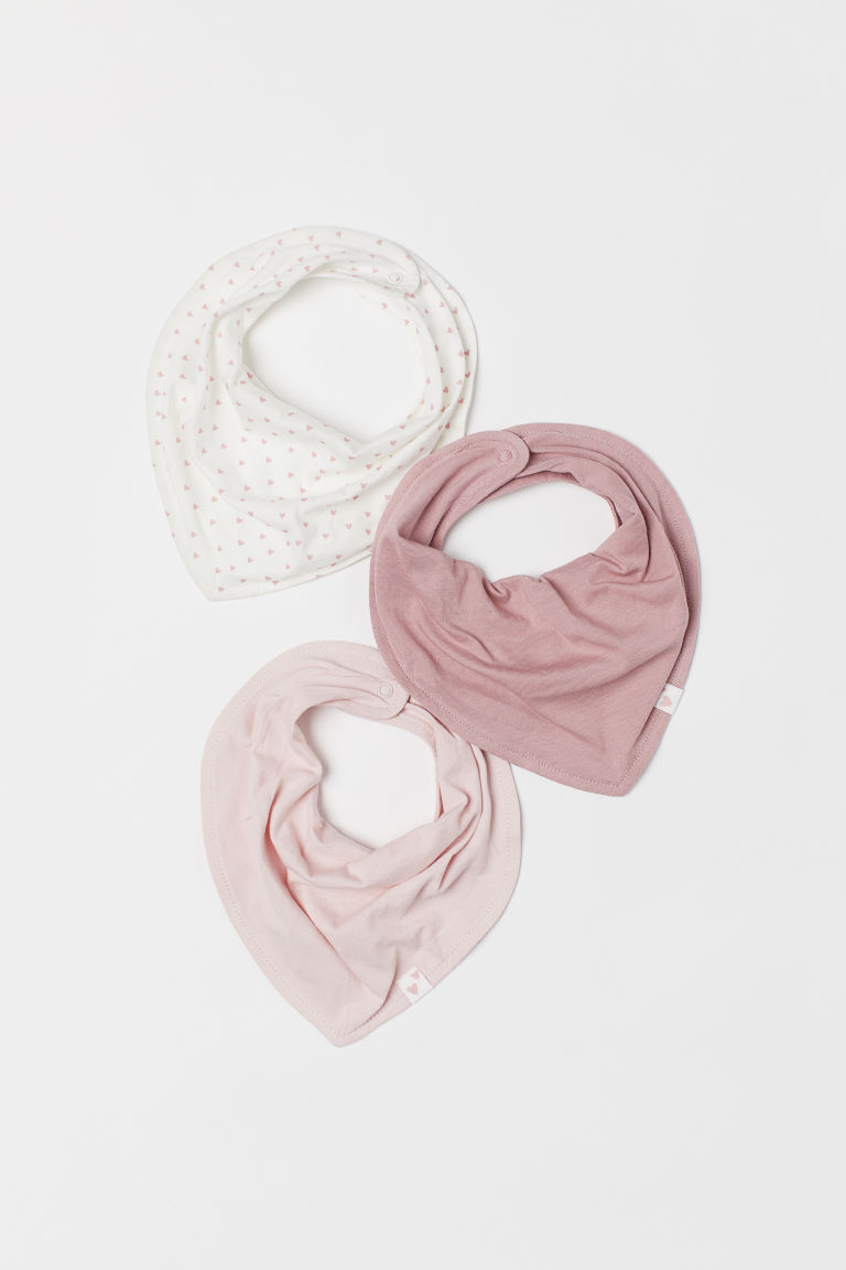 3-pack triangular scarves - White/Hearts - Kids | H&M CN