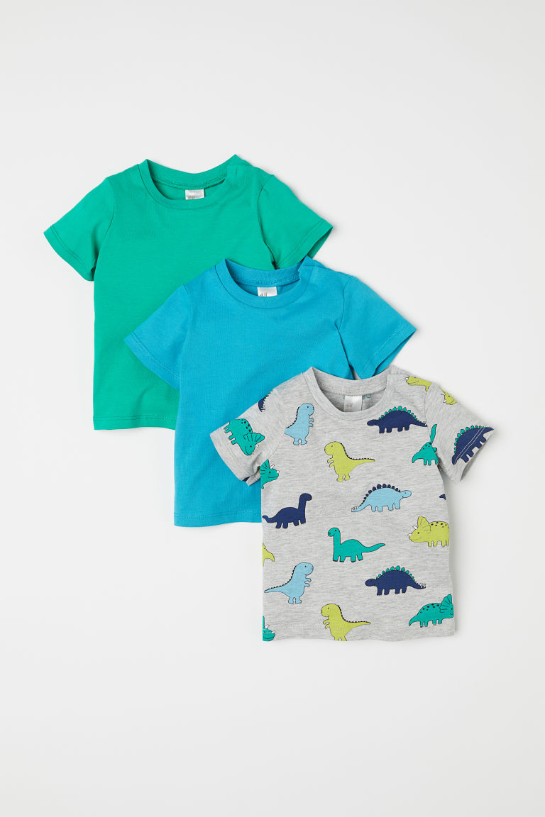 3-pack T-shirts - Light grey marl/Dinosaurs - Kids | H&M CN
