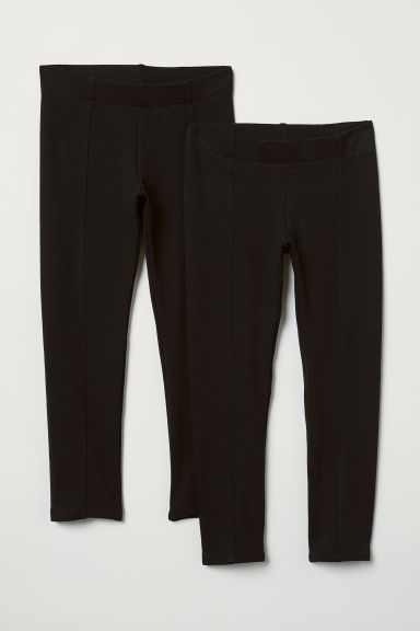 2-pack sturdy jersey leggings - Black/Pleat - Kids | H&M CN