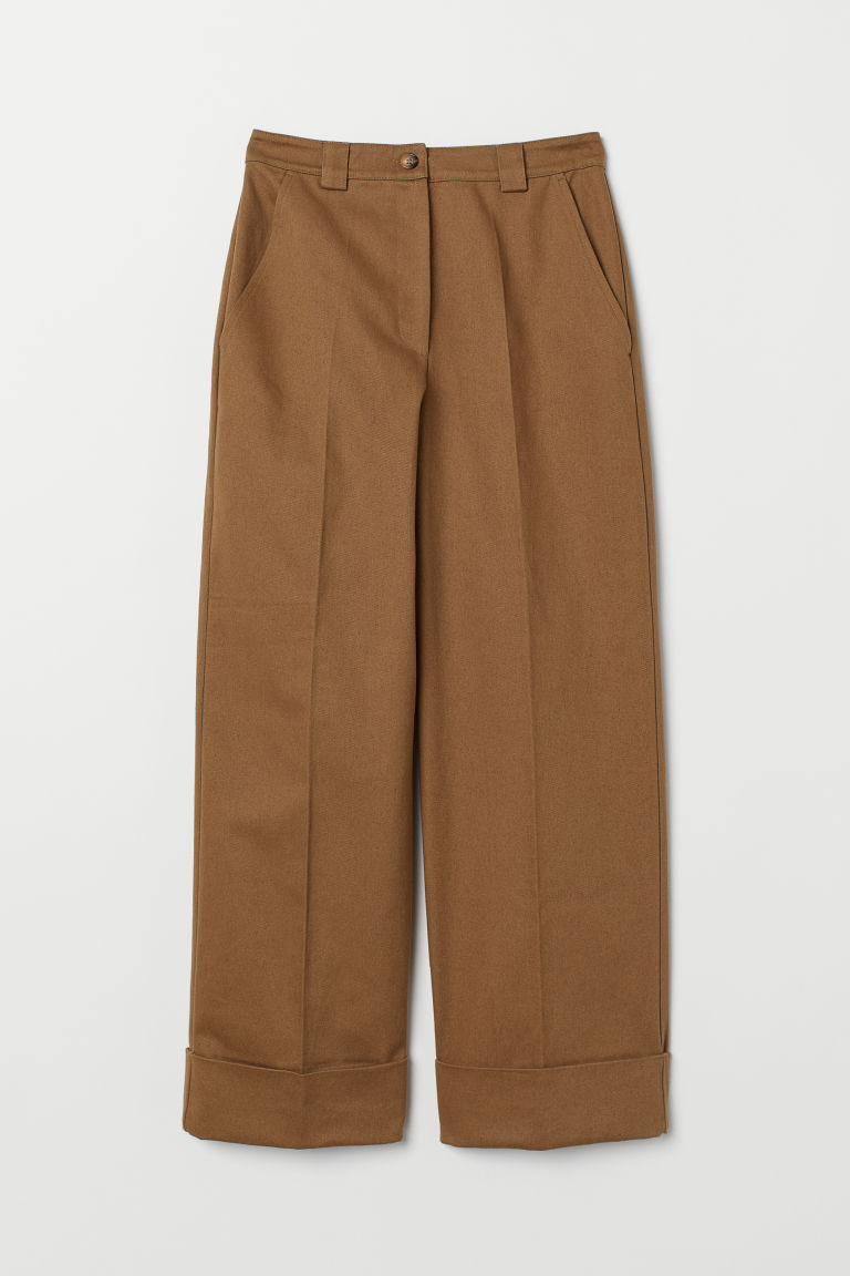Wide twill trousers - Beige - Ladies | H&M GB