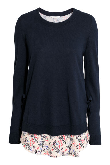 MAMA Fine-knit nursing jumper - Dark blue -  | H&M CN