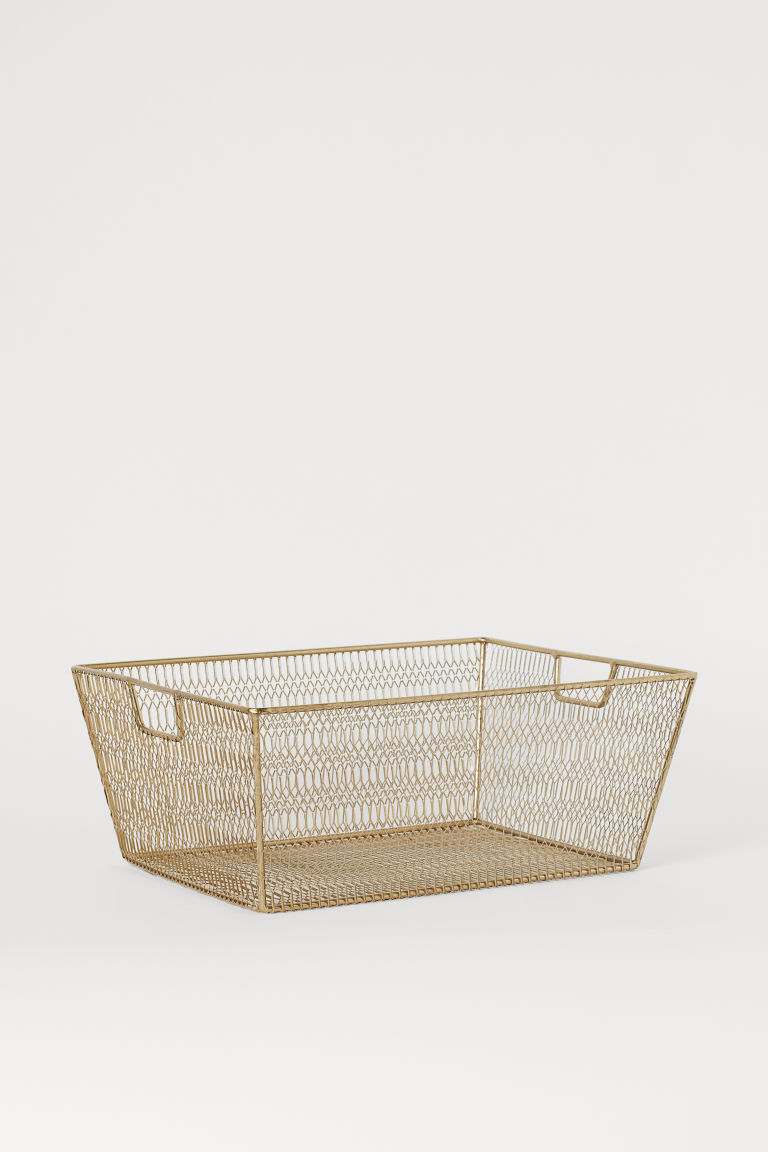 Large metal wire basket - Gold-coloured - Home All | H&M CN