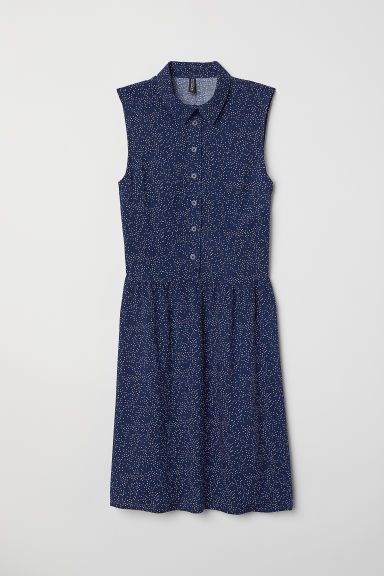 Sleeveless viscose dress - Dark blue/Spotted - Ladies | H&M CN