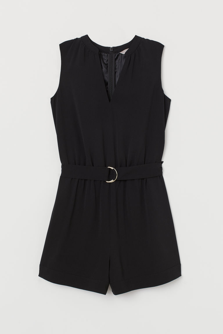 V-neck playsuit - Black - Ladies | H&M