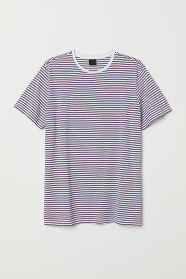 Striped T-shirt - Purple/White - Men | H&M