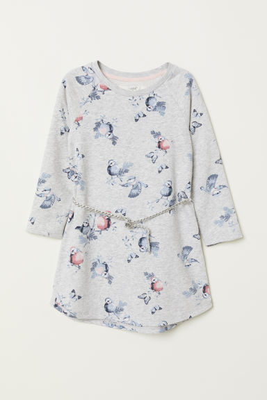 Sweatshirt dress - Light grey marl/Birds - Kids | H&M