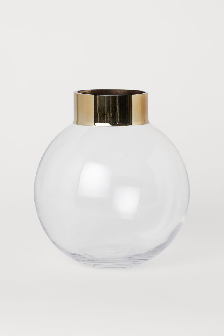 Rund vase i glass - Klart glass/Gullfarget - Home All | H&M NO