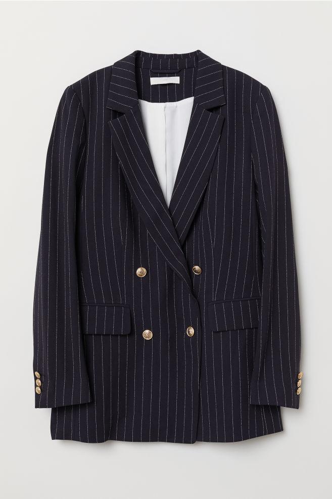 dff7de79 Dobbeltradet jakke - Mørkeblå/Nålestribet - DAME | H&M ...