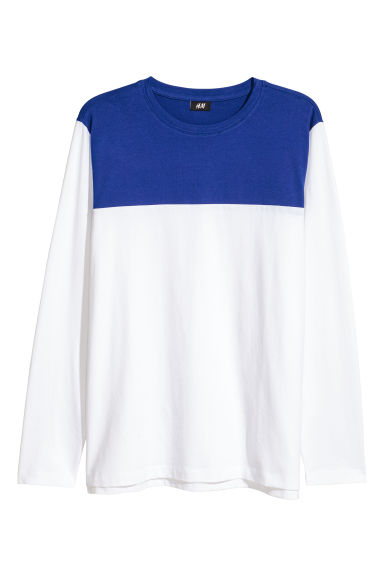 Long-sleeved jersey top - White/Blue - Men | H&M