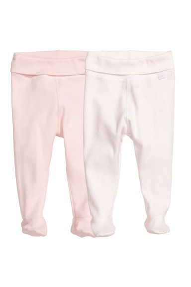 2-pack trousers with feet - Powder pink/Spotted - Kids | H&M