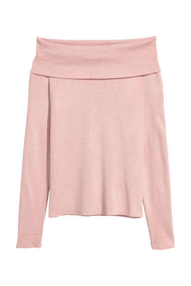 Off-the-shoulder jumper - Powder pink - Ladies | H&M CN