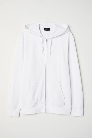Piqué hooded jacket - White - Men | H&M CN