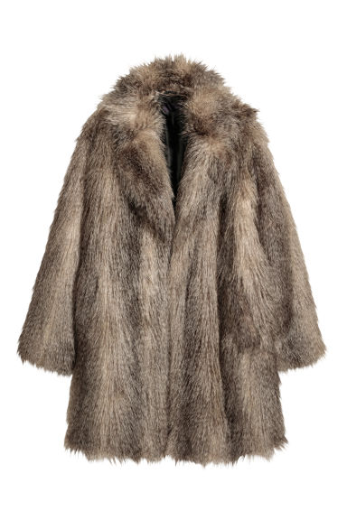 Faux fur coat - Grey -  | H&M CN