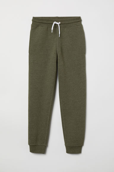 Cotton-blend joggers - Dark khaki green marl - Kids | H&M CN