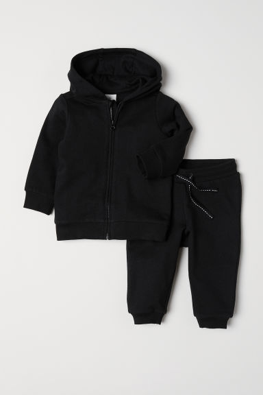 Hooded jacket and joggers - Black - Kids | H&M CN