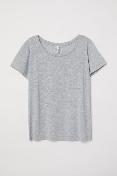 Jersey top - Light grey marl -  | H&M