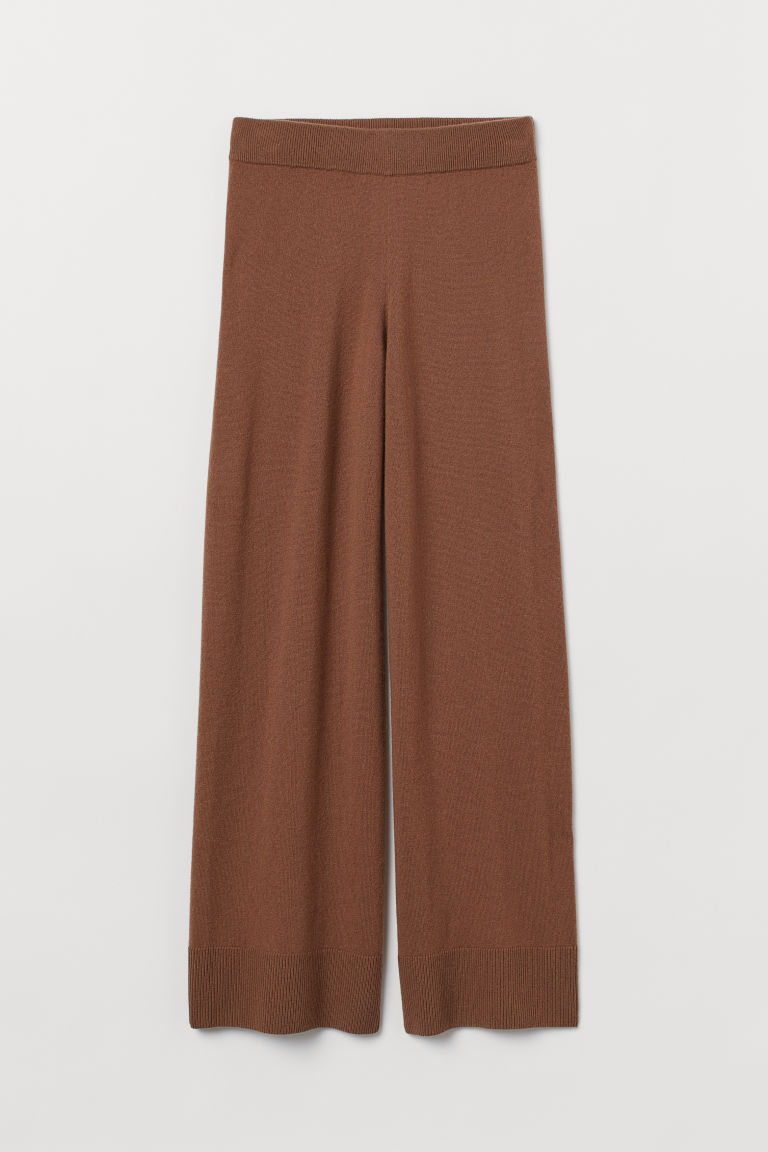 Wide cashmere trousers - Brown - Ladies | H&M