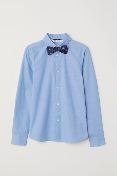 Shirt with Tie/Bow Tie - Light blue/bow tie - Kids | H&M CA