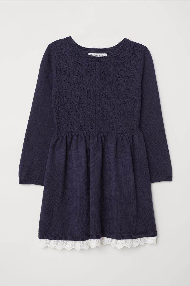 810e8f806c2e37 Fijngebreide jurk - Donkerblauw - KINDEREN