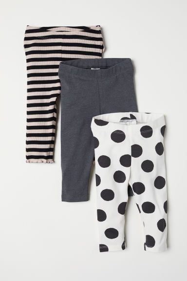 3-pack jersey leggings - White/Spotted - Kids | H&M