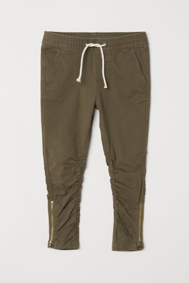 Joggers with zips - Khaki green - Kids | H&M CN