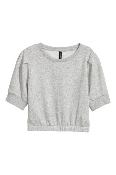 Short-sleeved sweatshirt - Light grey marl -  | H&M