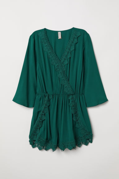 Playsuit with lace - Dark green -  | H&M