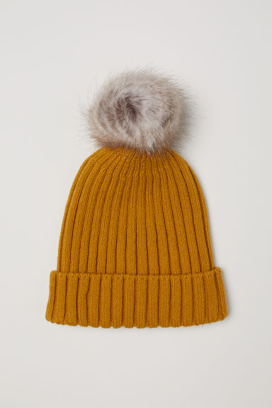 Rib-knit hat - Dark yellow - Kids | H&M GB