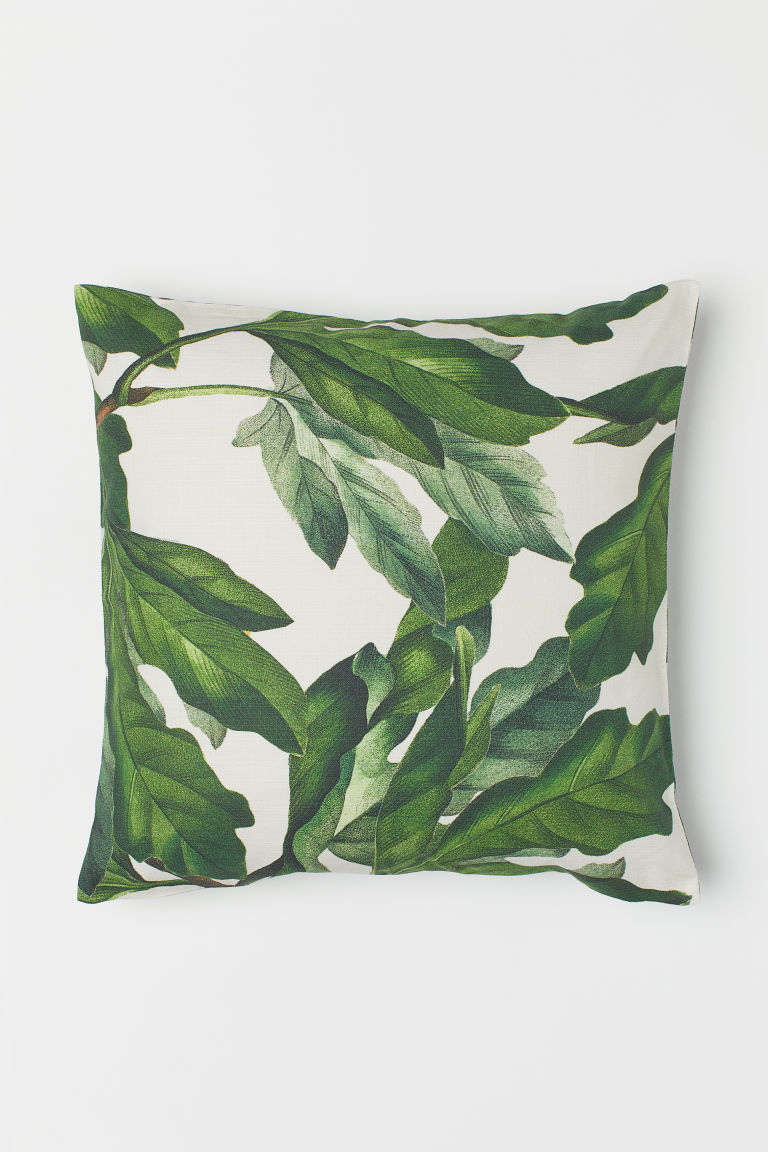 Patterned cushion cover - White/Leaf-patterned - Home All | H&M CN