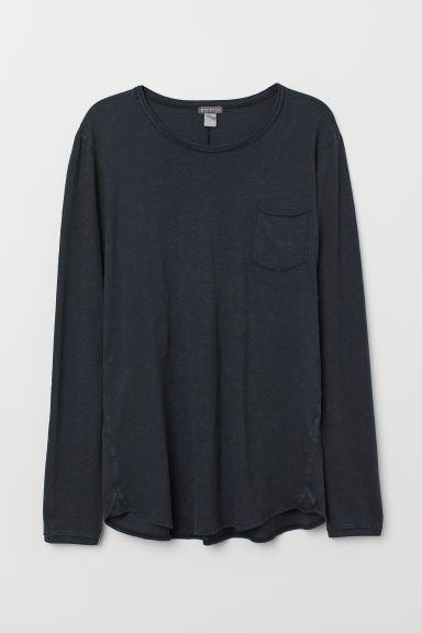 Slub jersey top - Dark grey - Men | H&M