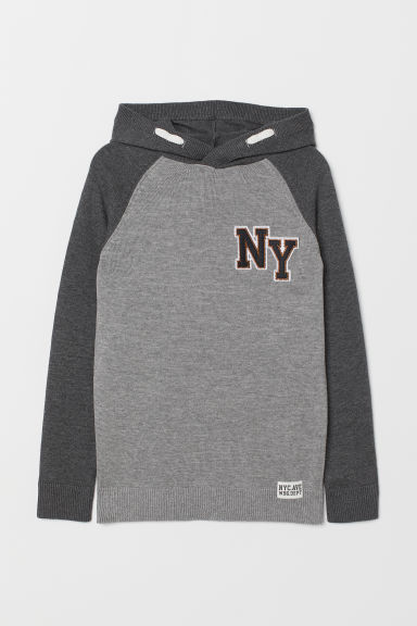 Fine-knit hooded jumper - Grey -  | H&M CN
