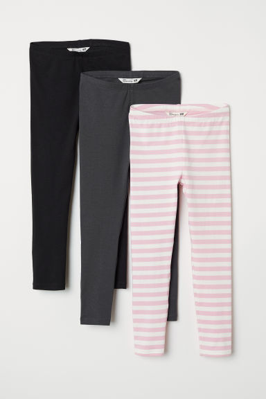 3-pack jersey leggings - Dark grey/Black/Pink striped - Kids | H&M CN