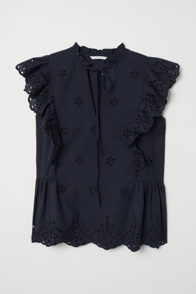 Embroidered frilled blouse - Dark blue - Ladies | H&M CN