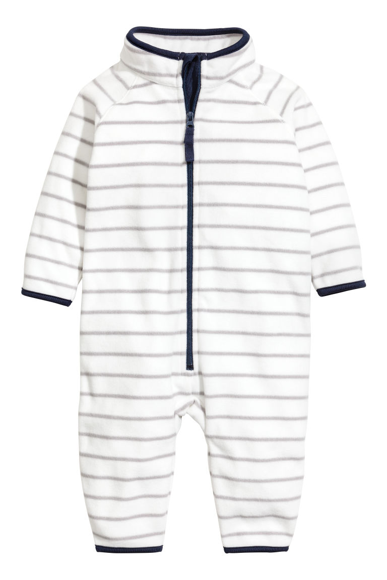 Fleece all-in-one suit - White/Grey striped - Kids | H&M CN