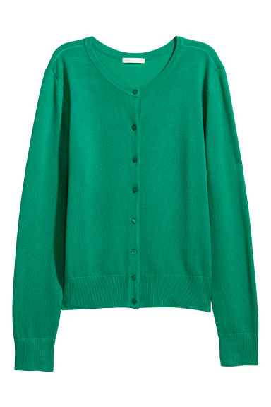 Fine-knit cardigan - Green - Ladies | H&M
