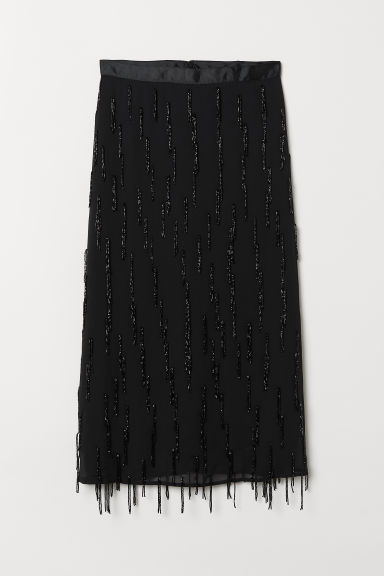 Skirt with beaded fringes - Black - Ladies | H&M