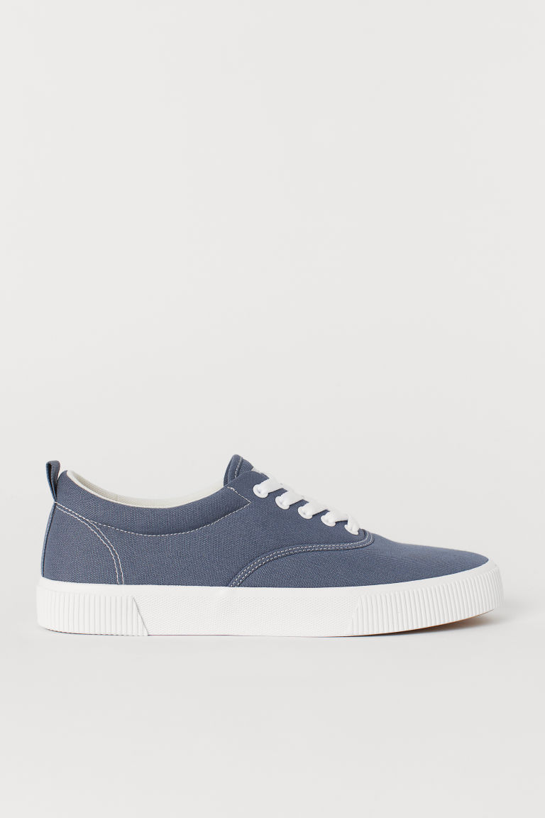 Cotton fabric shoes - Blue-grey - Men | H&M