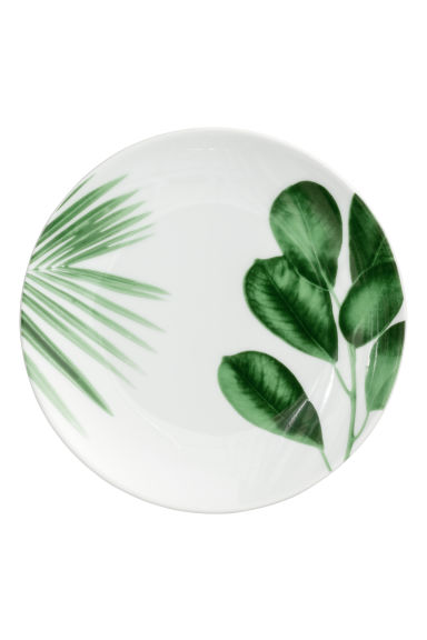 Small porcelain plate - White/Leaves -  | H&M CN