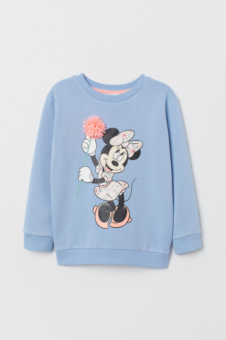Sweatshirt with a motif - Light blue/Minnie Mouse - Kids | H&M CN