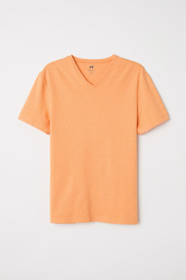 V-neck T-shirt Slim Fit - Light orange marl - Men | H&M CN