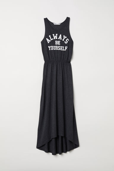 Long jersey dress - Dark grey -  | H&M CN