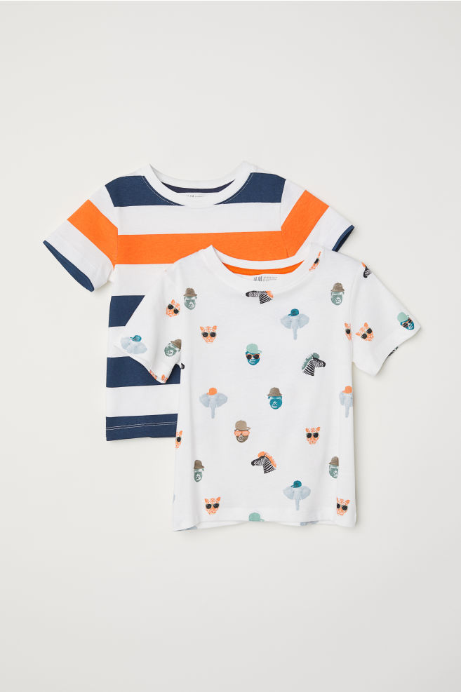 552912a0 2-pack T-shirts - White/Wild animals - Kids | H&M 1