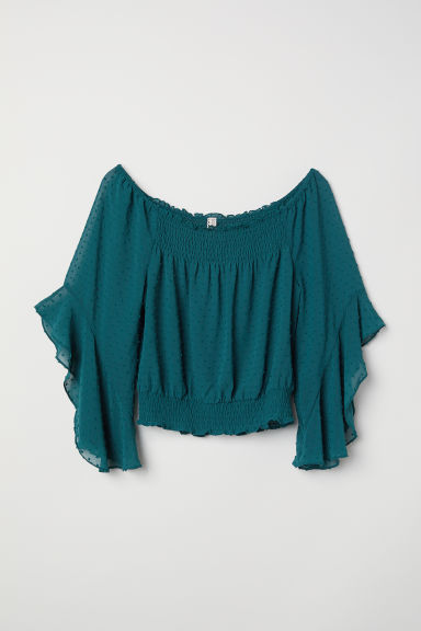 Off-the-shoulder blouse - Dark green -  | H&M