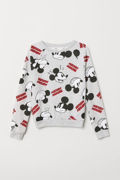 Sweatshirt with a motif - Light grey/Mickey Mouse - Kids | H&M