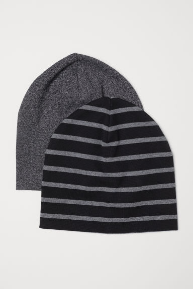 2-pack jersey hats - Black/Striped -  | H&M CN